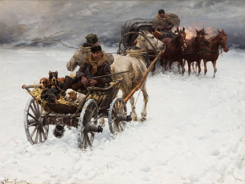 Alfred Wierusz Kowalski Niespodziewana śnieżyca, lata 80-90.XIX w
