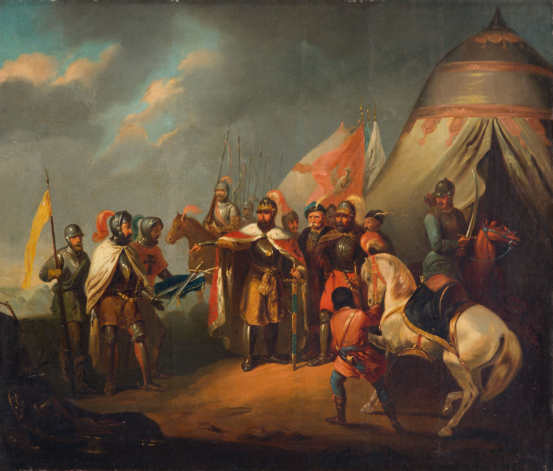 January Suchodolski, Ofiarowanie mieczy pod Grunwaldem, 1849 r. Depozyt w Muzeum Zamkowym w Malborku