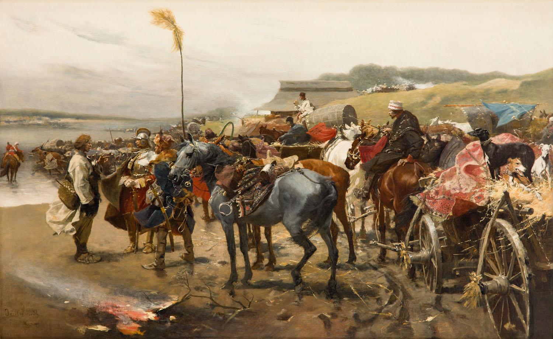 Józef Brandt Pospolite ruszenie u brodu, około 1895-1902