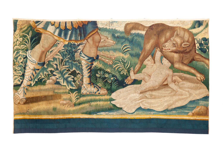 Fragment gobelinu z wilczycą karmiącą Romulusa i Remusa XVII/XVIII w.