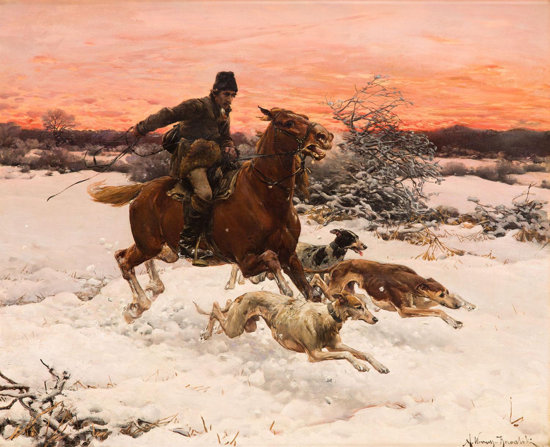 Alfred Wierusz Kowalski Dojeżdżacz – na polowaniu z chartami (Galopujący jeździec polski), około lata 80. XIX w.