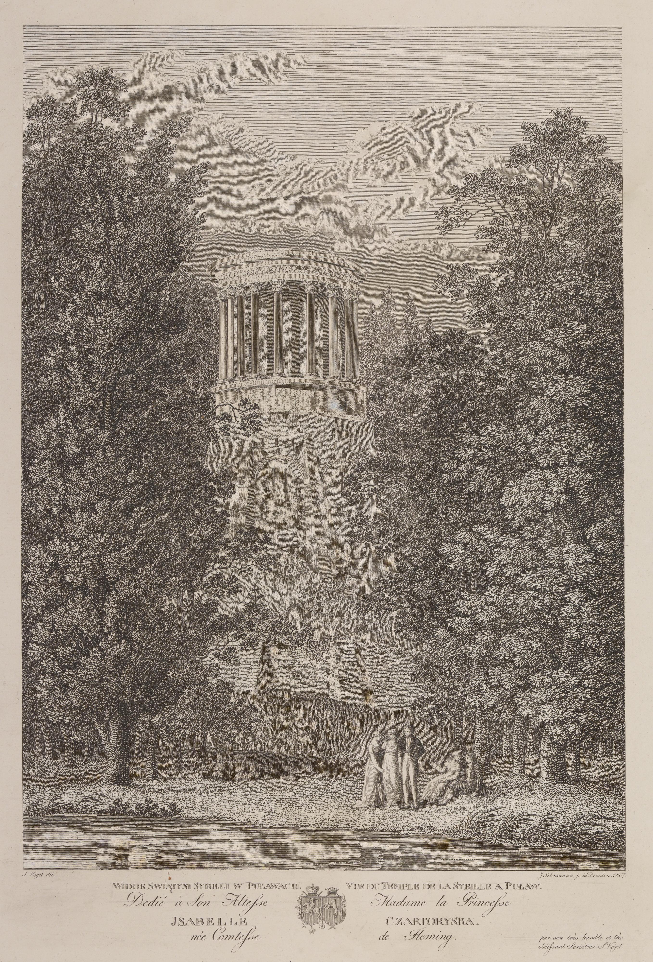Johann Gottlob Schumann, Puławy - Widok Świątyni Sybili w Puławach, 1807, źródło: Cyfrowe MNK