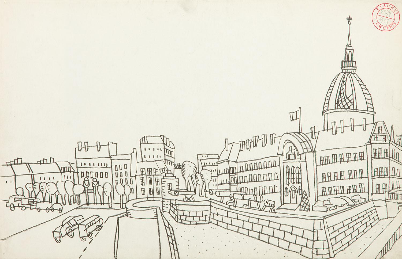 Praca z cyklu Paryż, 1967, ołówek, papier, 33 x 50 cm