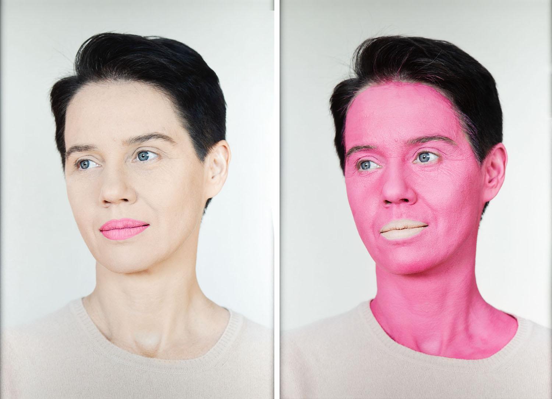 "Aneta Grzeszykowska, ""Negative Make Up, pink"" - dyptyk, 2016"